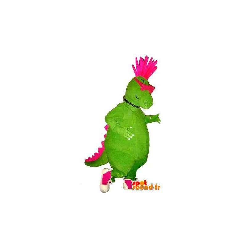 Dinosaur mascot look punk, rock disguise - MASFR001741 - Mascots dinosaur