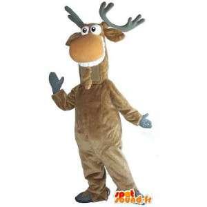 Renas mascote sorrindo Noel disfarçado - MASFR001743 - Mascotes Natal