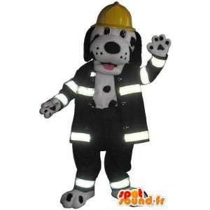 Mascotte de dalmatien pompier, déguisement de pompier américain