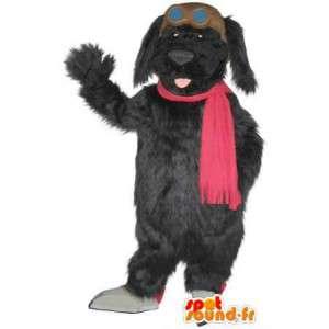 Mascot wat neerkomt op een pluche hond, hond kostuum