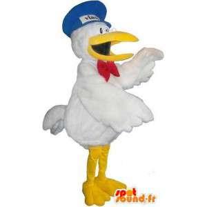 Mascotte de toucan en tenue de facteur, déguisement d'oiseau