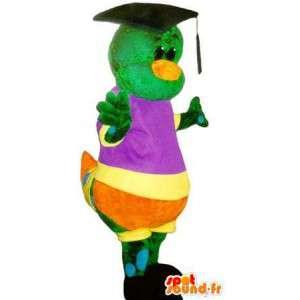 Mascotte de chenille diplômée, déguisement d'insecte multicolore