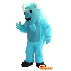 Mascot wat neerkomt op een blauwe geit, boerderij vermomming