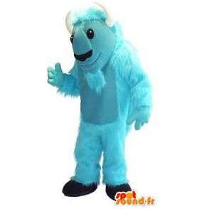 Mascot wat neerkomt op een blauwe geit, boerderij vermomming - MASFR001750 - Mascottes en geiten Geiten
