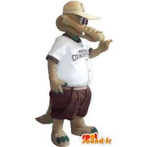 Krokodil mascotte kostuum in korte broek