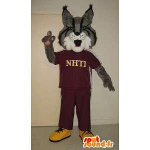 Mascotte de loup en jogging, déguisement de sportif