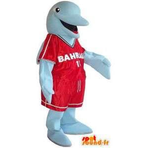 Mascotte de dauphin en tenue sportive, déguisement de match