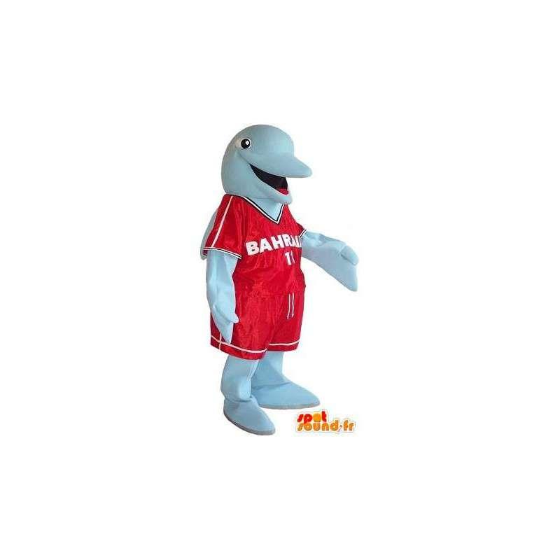 Mascotte de dauphin en tenue sportive, déguisement de match - MASFR001755 - Mascottes Dauphin