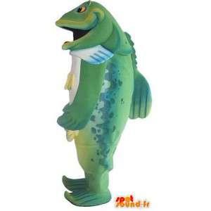 Mascot wat neerkomt op een groene vis, vis vermomming