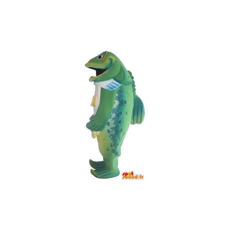 Mascot wat neerkomt op een groene vis, vis vermomming - MASFR001756 - Fish Mascottes