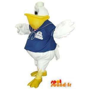 Mascotte de toucan en tenue de marin, déguisement d'oiseau marin