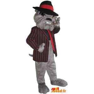 Mascotte de boule dogue mafiosi, déguisement de parrain