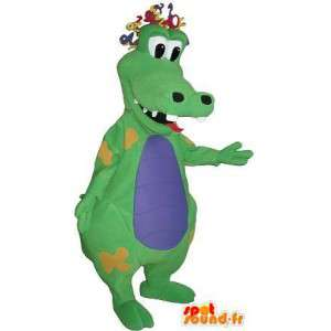 Grappige krokodil mascotte clownkostuum