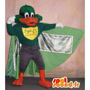 Duck mascot vigilante in a cape, superhero costume