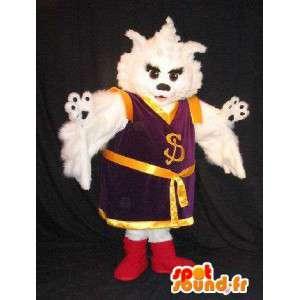 Cat mascot dressed in Kung Fu, Asian costume