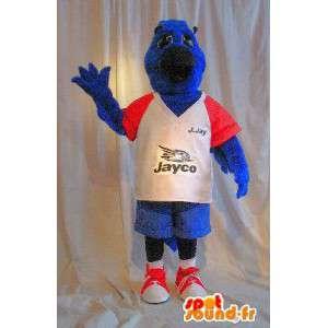 Pies maskotka w kolorze niebieskim pluszem, sportowy kostium psa