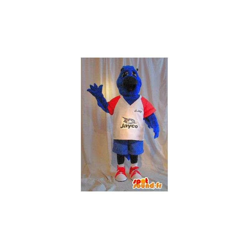 μασκότ σκυλί σε μπλε βελούδο, αθλητικές κοστούμι σκυλί - MASFR001772 - Μασκότ Dog