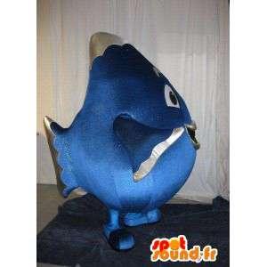 Mascotte de gros poisson bleu, déguisement d'aquarium