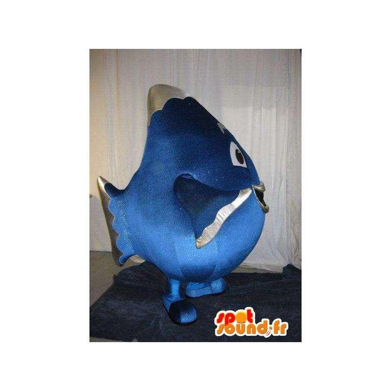 Mascotte de gros poisson bleu, déguisement d'aquarium - MASFR001781 - Mascottes Poisson