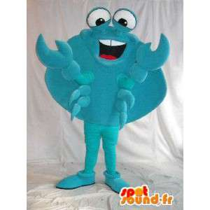 Feliz traje de la mascota de cangrejo con cáscara