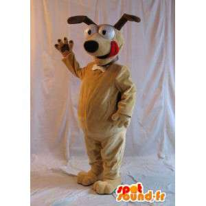 Mascot van een hond op aandacht, hoektand kostuum