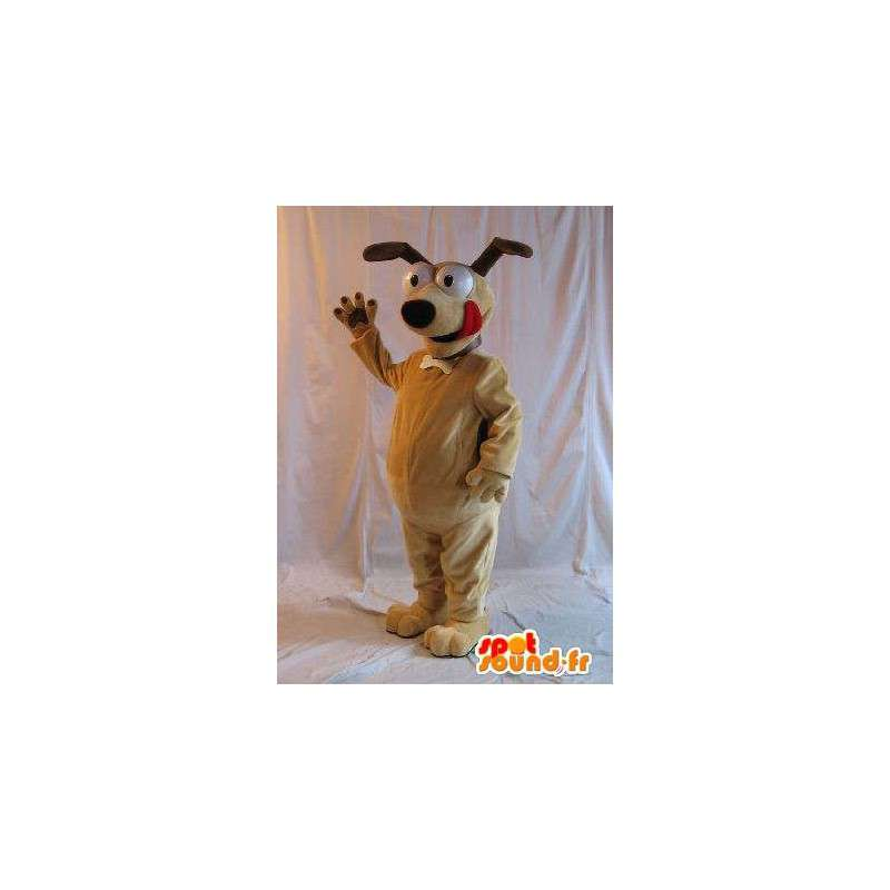 Mascot van een hond op aandacht, hoektand kostuum - MASFR001787 - Dog Mascottes
