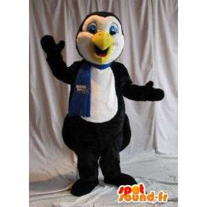 Penguin mascot representing a scarf, winter disguise