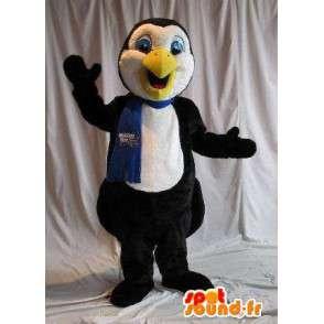 Mascotte représentant un pingouin en écharpe, déguisement hiver - MASFR001788 - Mascottes Pingouin