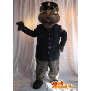 Mascotte d'écureuil agent de sécurité, déguisement en uniforme
