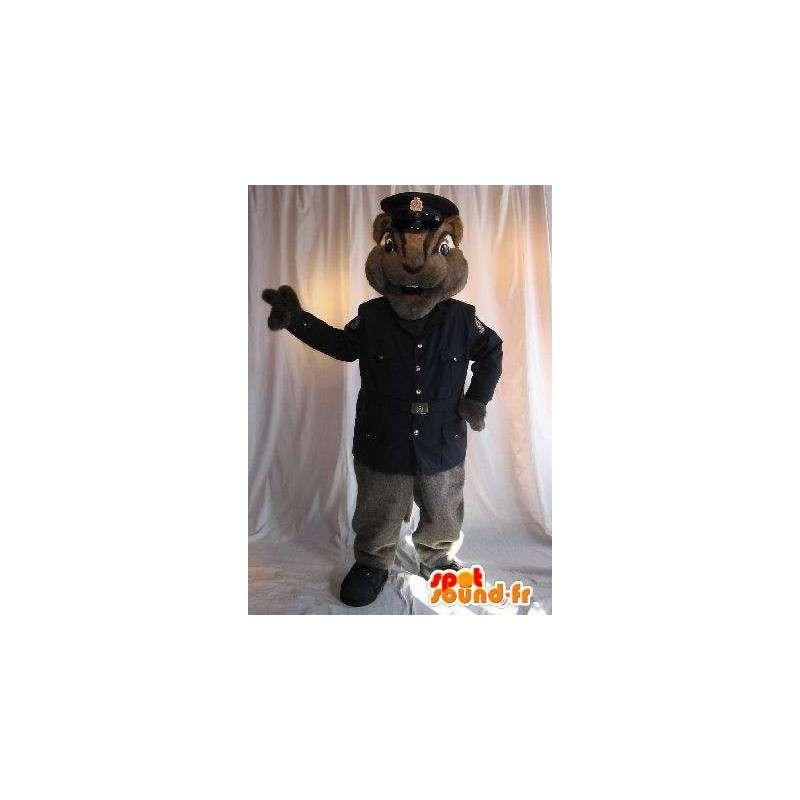 Ekorre maskot säkerhet officer, förklädnad i uniform -
