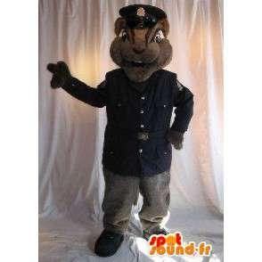 Mascotte d'écureuil agent de sécurité, déguisement en uniforme - MASFR001791 - Mascottes Ecureuil