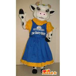 Cow mascot dressed in 50s, 50s costume