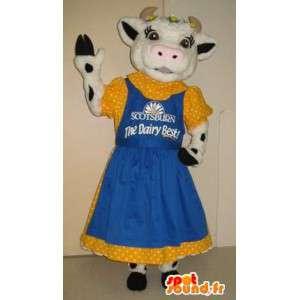 Mascotte de vache en tenue des années 50, déguisement années 50