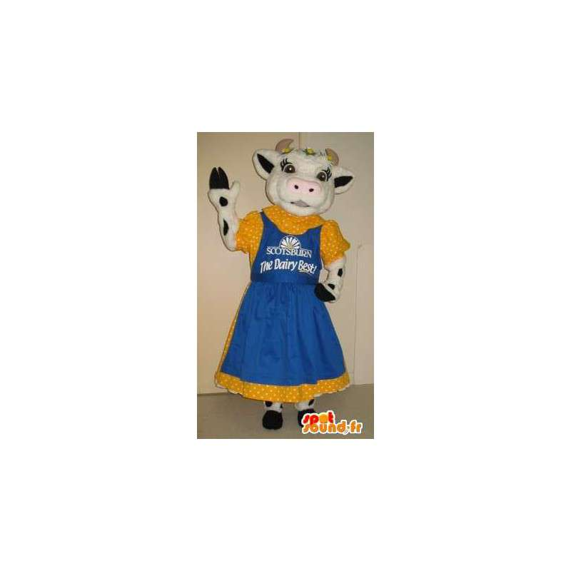 Cow mascot dressed in 50s, 50s costume - MASFR001792 - Mascot cow