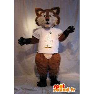 Mascot wat neerkomt op een bruine vos, vos vermomming
