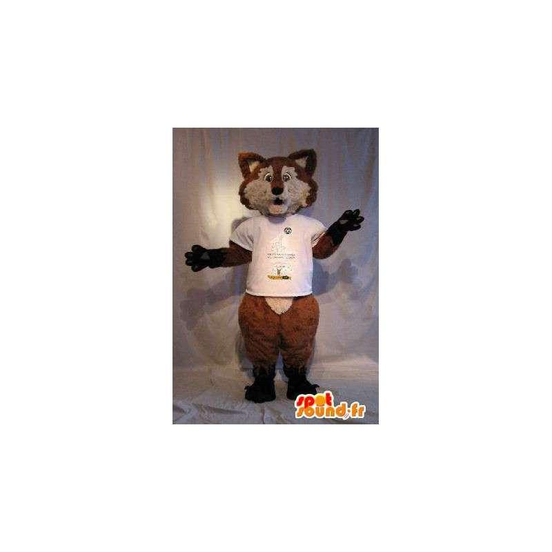Mascot wat neerkomt op een bruine vos, vos vermomming - MASFR001793 - Fox Mascottes