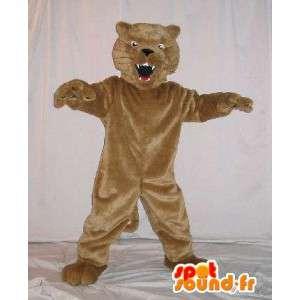 Mascot wat neerkomt op een opgezette kat, kat kostuum