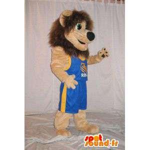 Lion Mascot Basketball verschleiern den König des Basketballs - MASFR001795 - Mascottes Lion