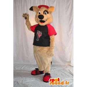 Beige cane mascotte costume di peluche