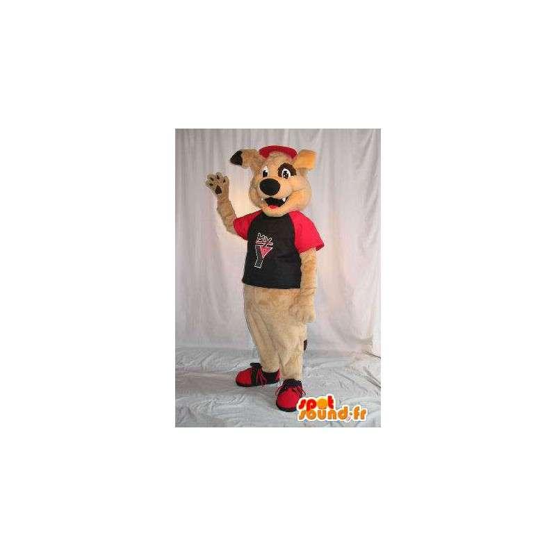 Beige koira maskotti muhkeat puku - MASFR001796 - koira Maskotteja
