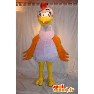 Mascotte de poule coquette, déguisement de cocotte