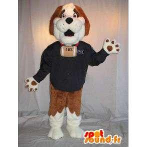 Mascotte représentant un Saint Bernard, déguisement de sauveteur - MASFR001798 - Mascottes de chien