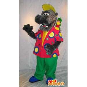 Flodhestmaskot i farverigt tøj, flodhest forklædning -