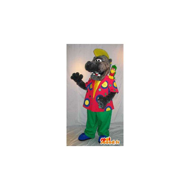 Mascotte d'hippopotame en tenue colorée, déguisement d'hippo - MASFR001801 - Mascottes Hippopotame