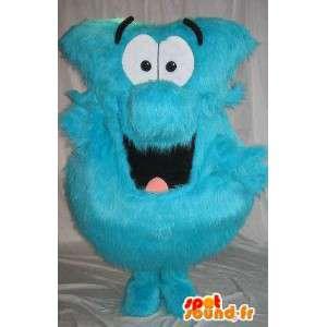 Mascotte de boule de poils bleue, déguisement poilu