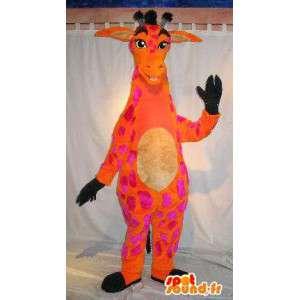 Maskot oranžová a růžová žirafa, vytáhlý převlek