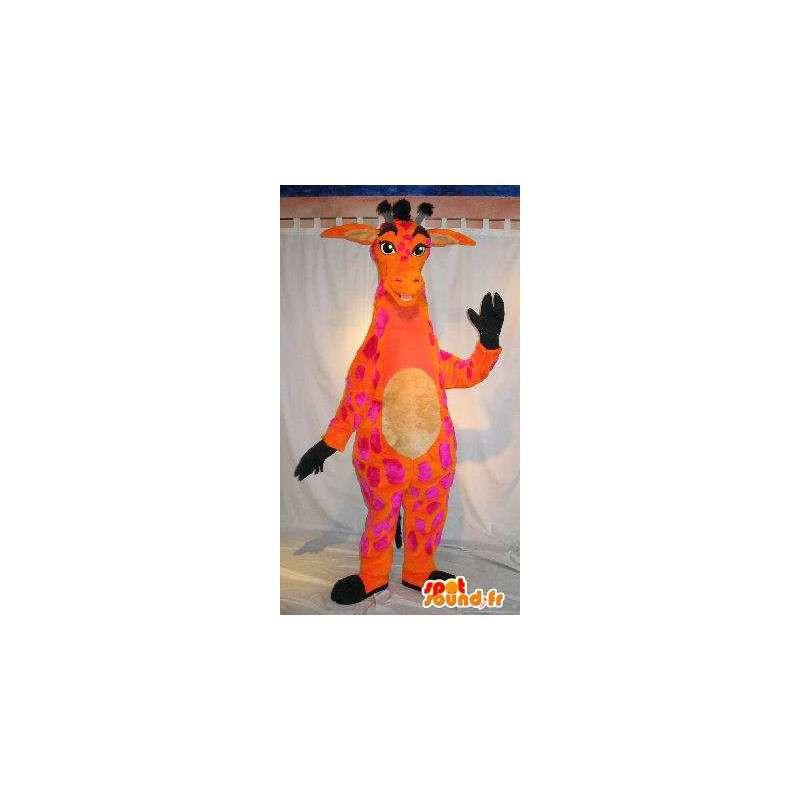 Mascotte de girafe orange et rose, déguisement longiligne - MASFR001808 - Mascottes de Girafe