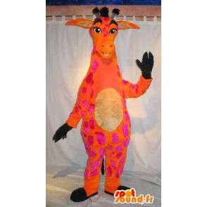 Maskot oranžová a růžová žirafa, vytáhlý převlek - MASFR001808 - maskoti Giraffe