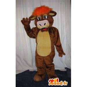 Mascota de la vaca con peluca naranja traje de la vaca