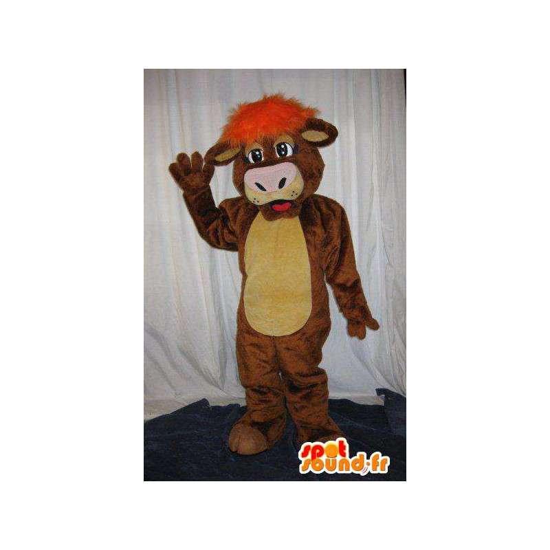 Mascota de la vaca con peluca naranja traje de la vaca - MASFR001811 - Vaca de la mascota